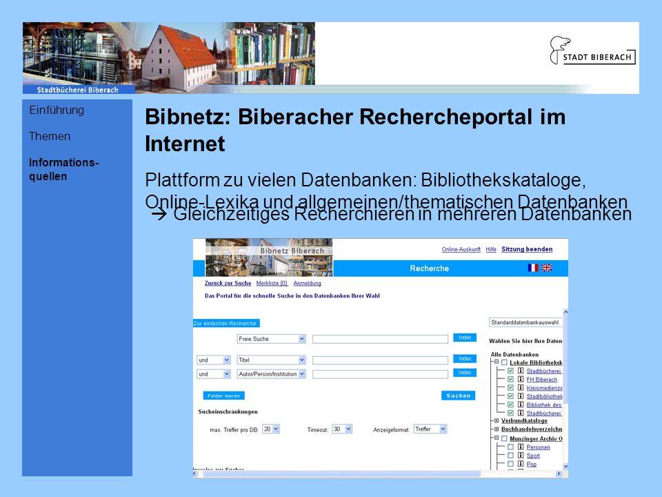 Bibnetz: Biberacher Rechercheportal im Internet
