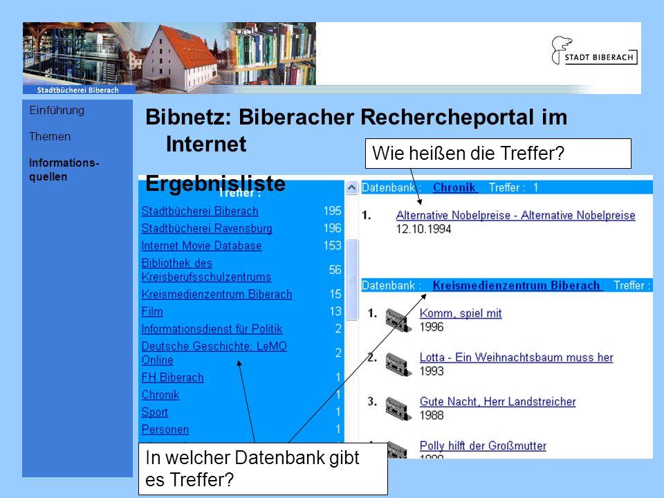 Bibnetz: Biberacher Rechercheportal im Internet Ergebnisliste