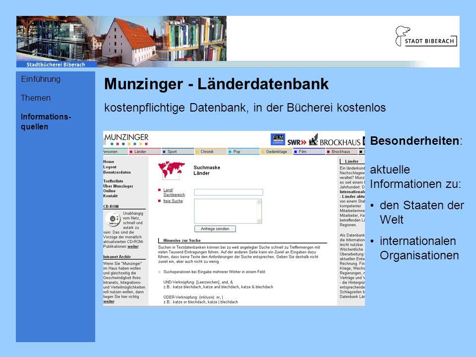 Munzinger - Länderdatenbank