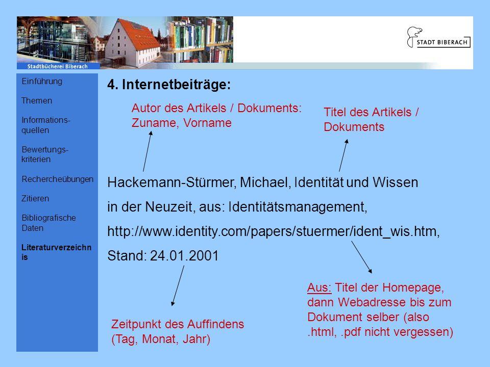 Hackemann-Stürmer, Michael, Identität und Wissen