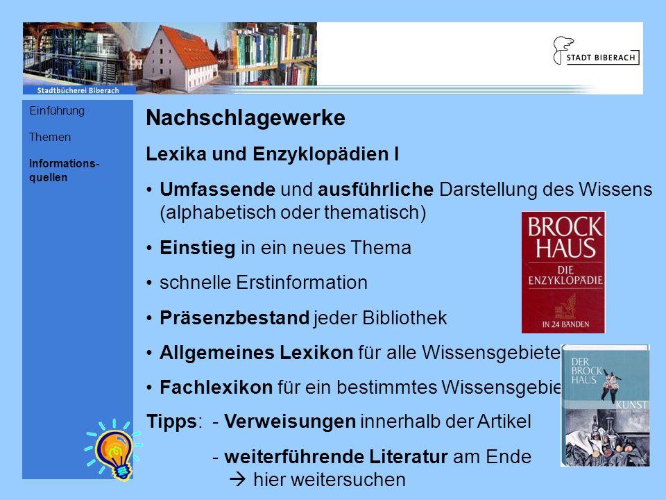 Nachschlagewerke Lexika und Enzyklopädien I