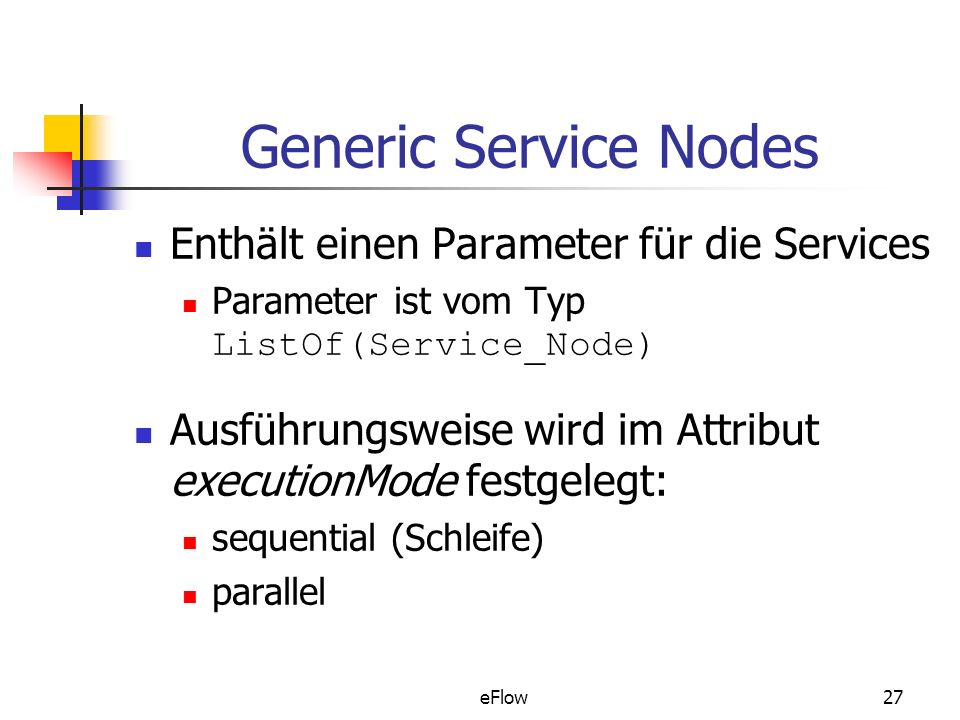 Generic Service Nodes Enthält einen Parameter für die Services