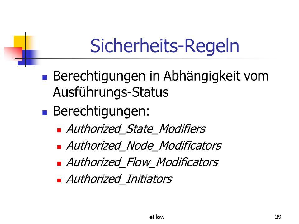 Sicherheits-Regeln Berechtigungen in Abhängigkeit vom Ausführungs-Status. Berechtigungen: Authorized_State_Modifiers.