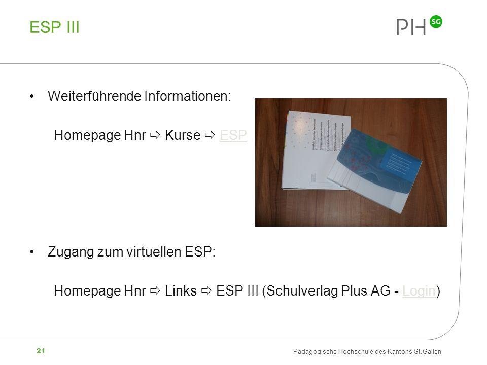 ESP III Weiterführende Informationen: Homepage Hnr  Kurse  ESP