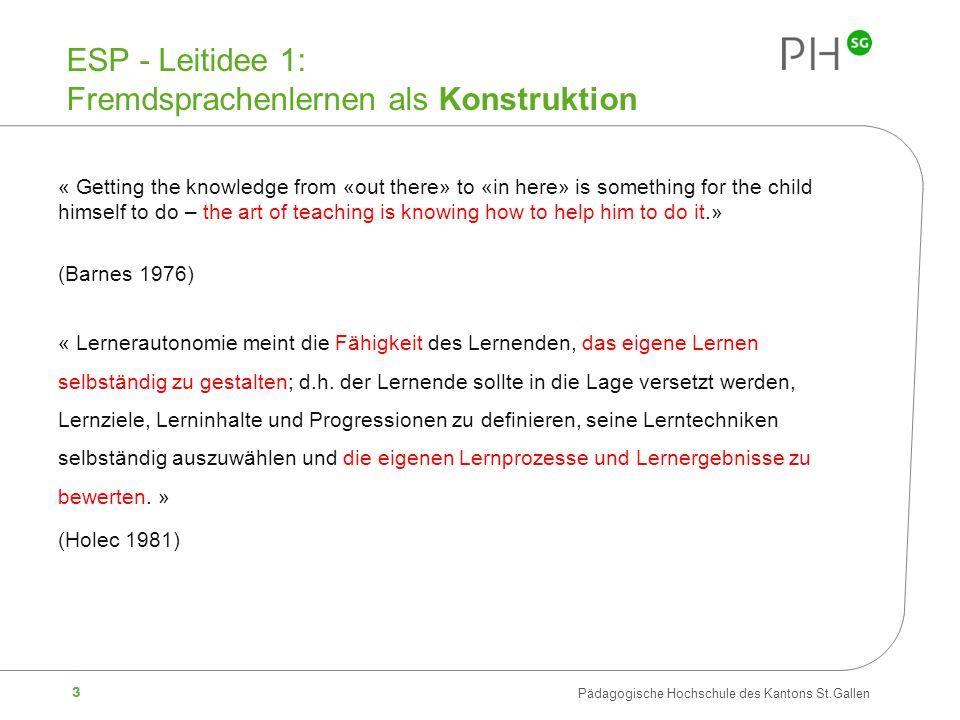 ESP - Leitidee 1: Fremdsprachenlernen als Konstruktion