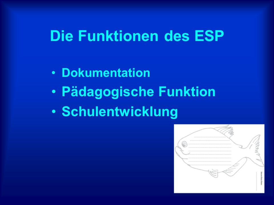 Die Funktionen des ESP Pädagogische Funktion Schulentwicklung