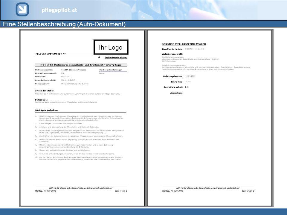 Eine Stellenbeschreibung (Auto-Dokument)