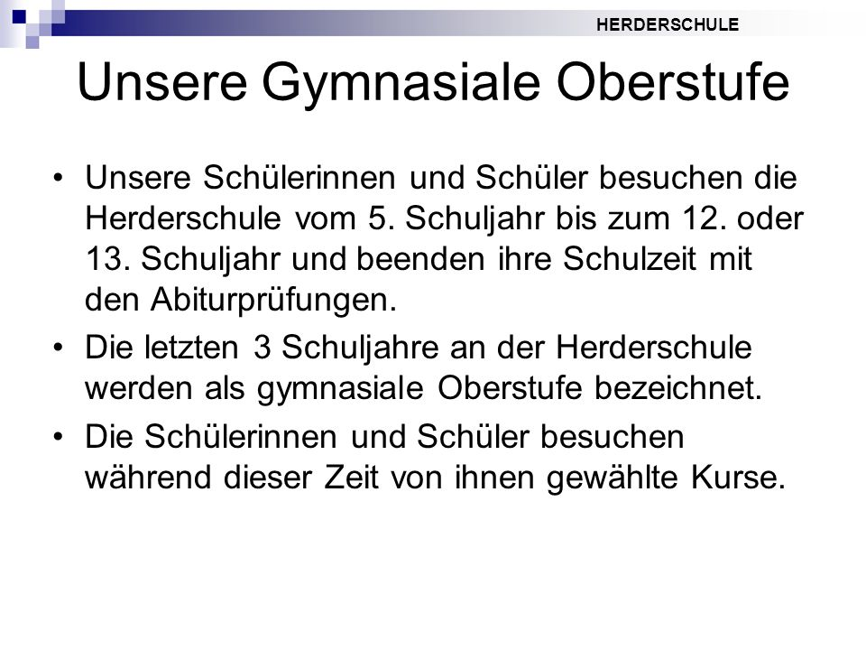 Unsere Gymnasiale Oberstufe