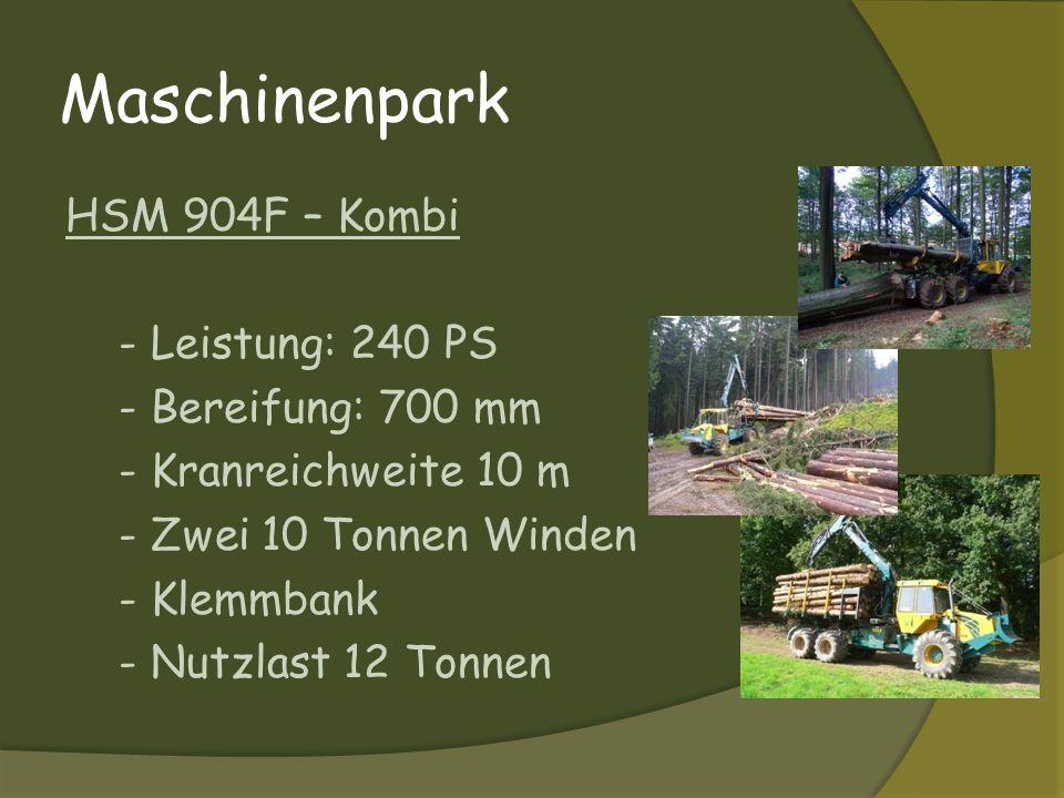 Maschinenpark HSM 904F – Kombi - Leistung: 240 PS - Bereifung: 700 mm - Kranreichweite 10 m - Zwei 10 Tonnen Winden - Klemmbank - Nutzlast 12 Tonnen
