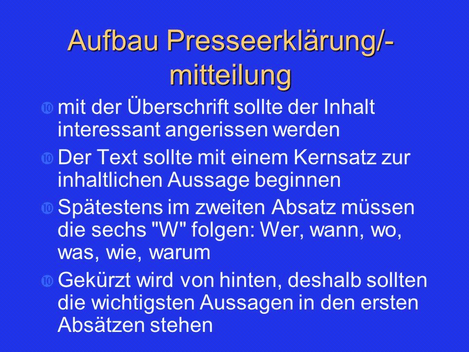 Aufbau Presseerklärung/-mitteilung