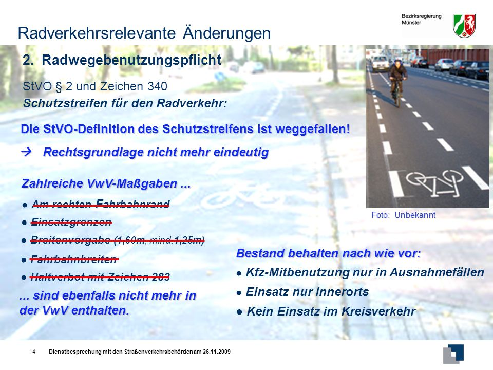 Radverkehrsrelevante Änderungen