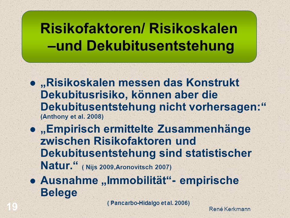 Risikofaktoren/ Risikoskalen –und Dekubitusentstehung