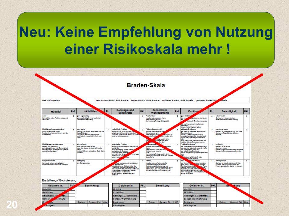 Neu: Keine Empfehlung von Nutzung einer Risikoskala mehr !