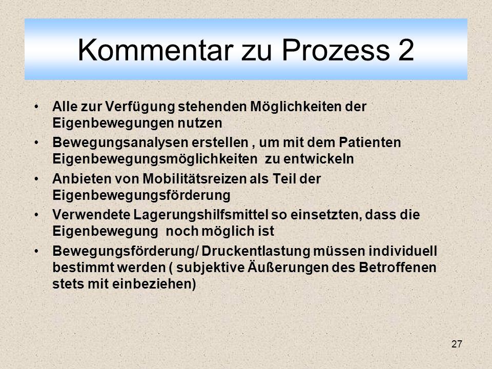 Kommentar zu Prozess 2 Alle zur Verfügung stehenden Möglichkeiten der Eigenbewegungen nutzen.