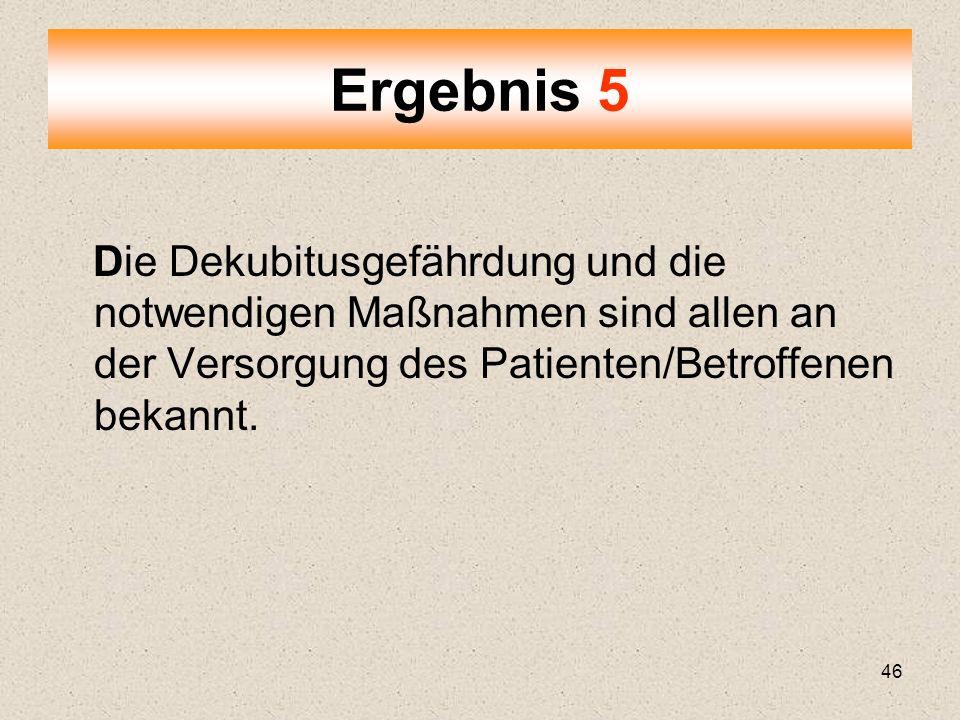 Ergebnis 5 Die Dekubitusgefährdung und die notwendigen Maßnahmen sind allen an der Versorgung des Patienten/Betroffenen bekannt.