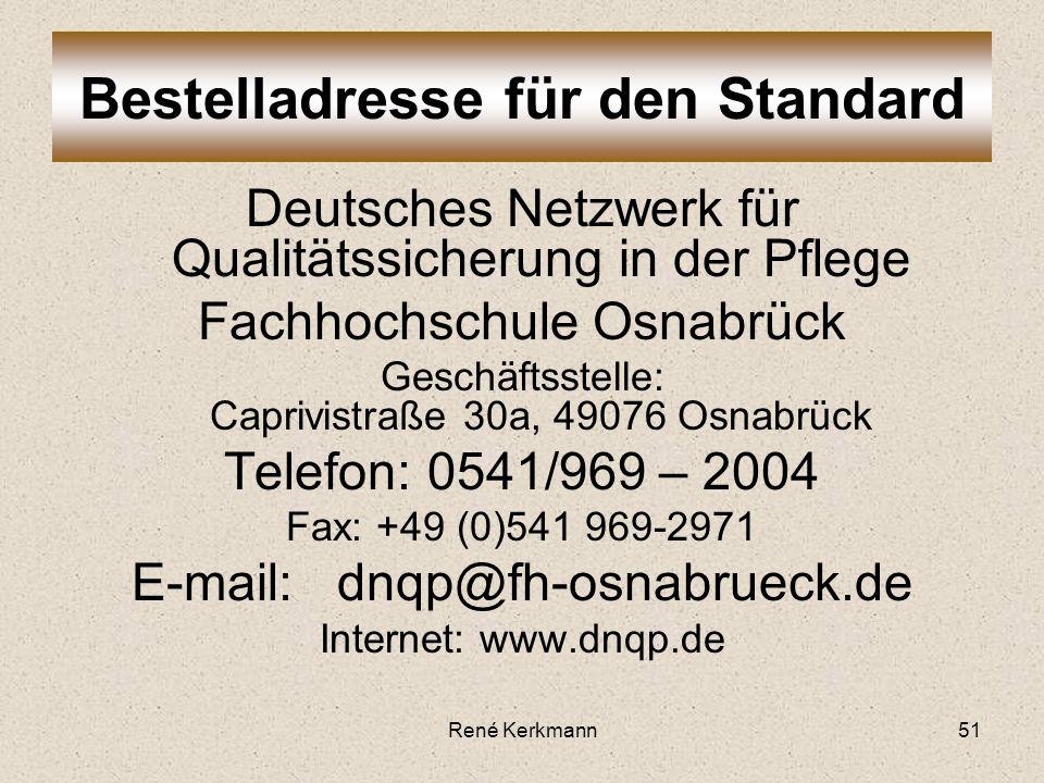 Bestelladresse für den Standard