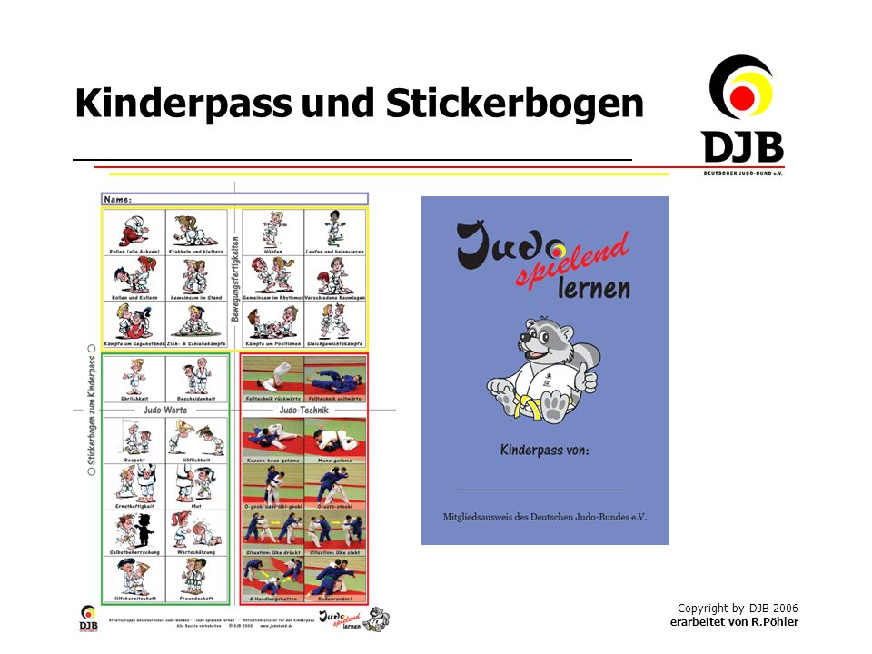 Kinderpass und Stickerbogen