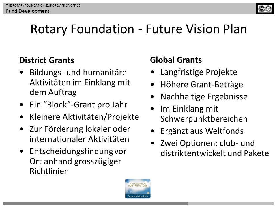 Rotary Foundation - Future Vision Plan