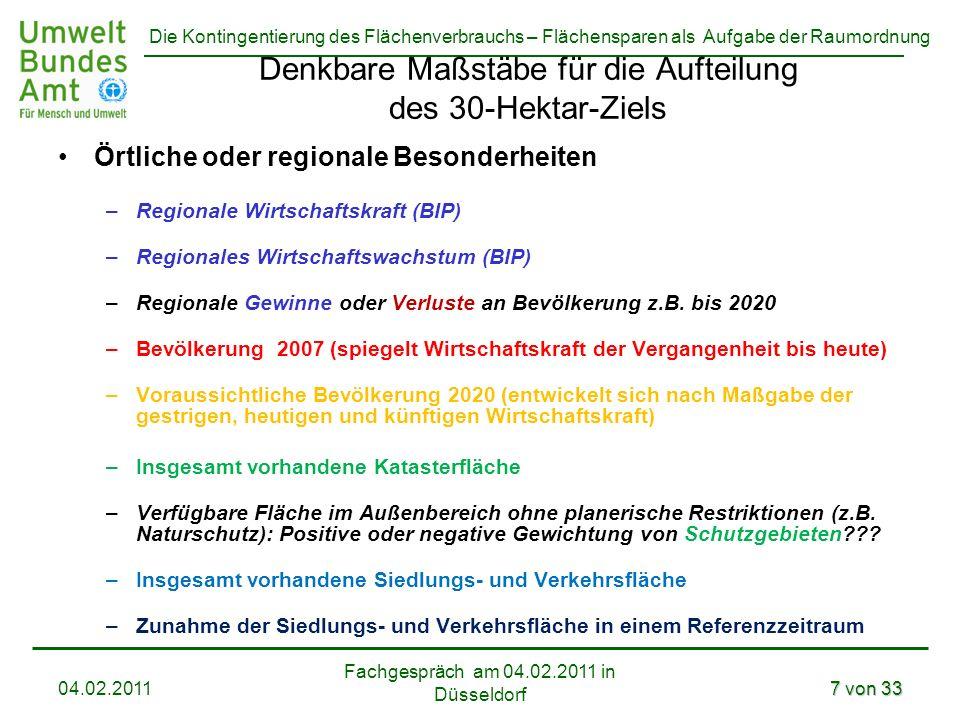 Denkbare Maßstäbe für die Aufteilung des 30-Hektar-Ziels