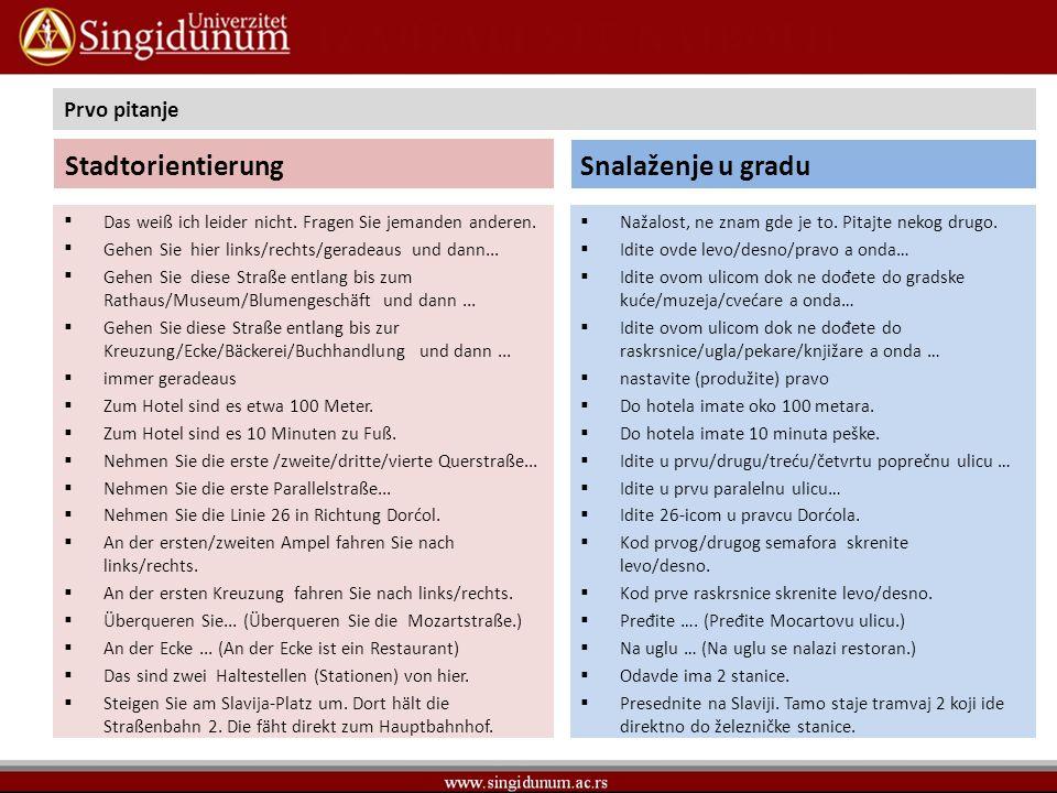 Stadtorientierung Snalaženje u gradu Prvo pitanje