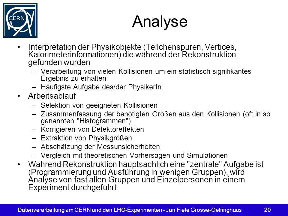 Analyse Interpretation der Physikobjekte (Teilchenspuren, Vertices, Kalorimeterinformationen) die während der Rekonstruktion gefunden wurden.