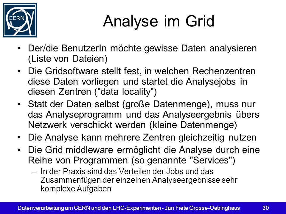 Analyse im Grid Der/die BenutzerIn möchte gewisse Daten analysieren (Liste von Dateien)