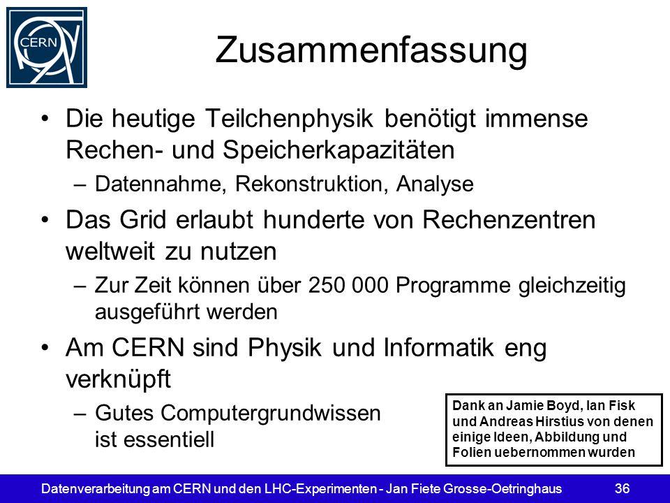 Zusammenfassung Die heutige Teilchenphysik benötigt immense Rechen- und Speicherkapazitäten. Datennahme, Rekonstruktion, Analyse.