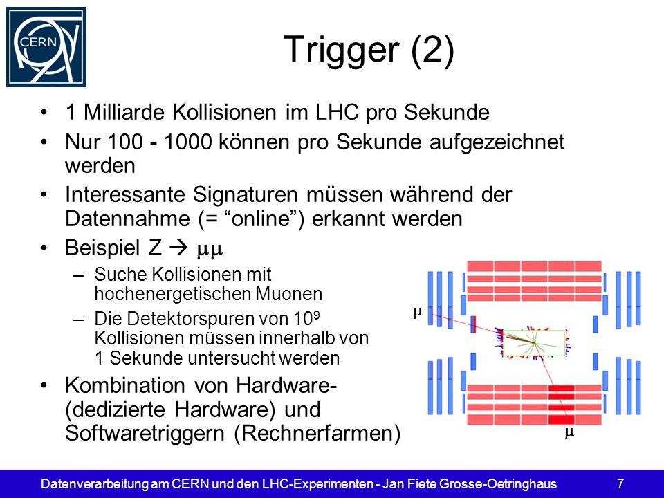 Trigger (2) 1 Milliarde Kollisionen im LHC pro Sekunde