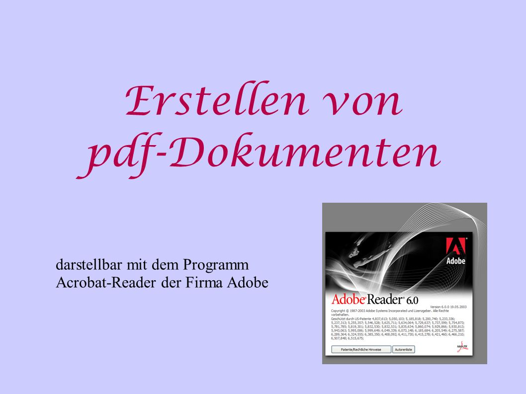 Erstellen von pdf-Dokumenten