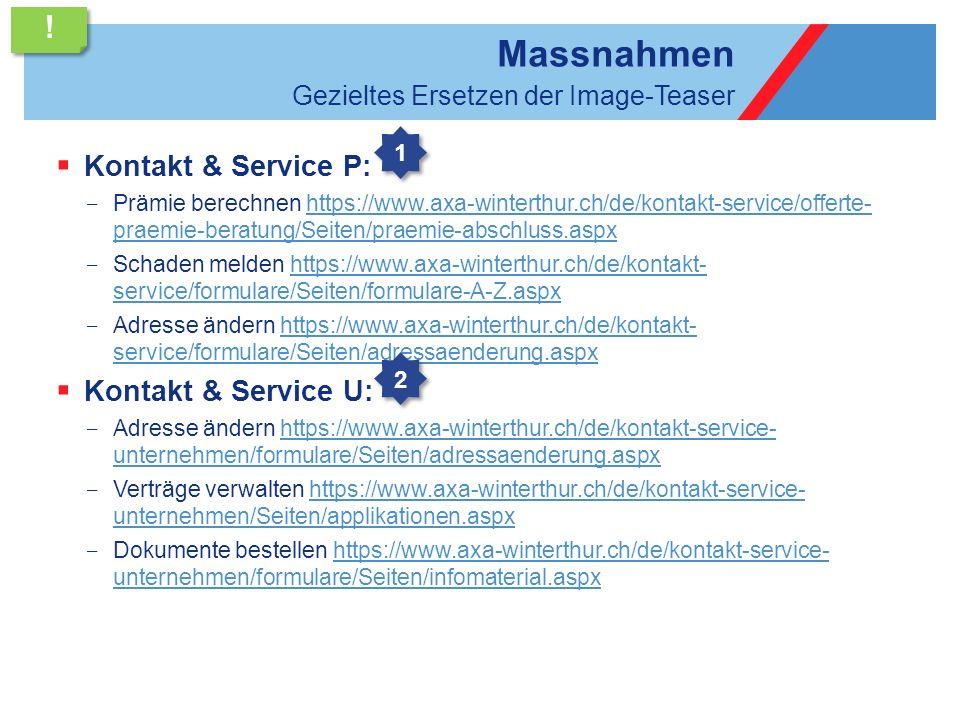 Massnahmen ! Kontakt & Service P: Kontakt & Service U: