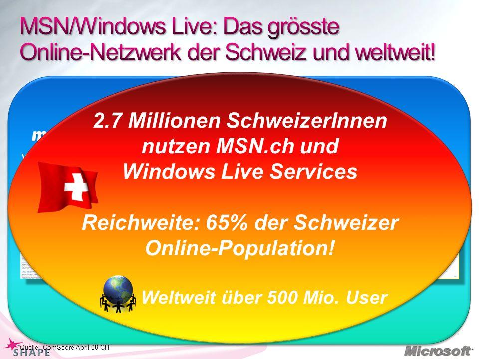 MSN/Windows Live: Das grösste Online-Netzwerk der Schweiz und weltweit!