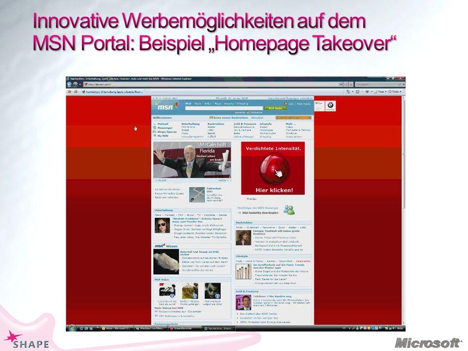 """Innovative Werbemöglichkeiten auf dem MSN Portal: Beispiel """"Homepage Takeover"""