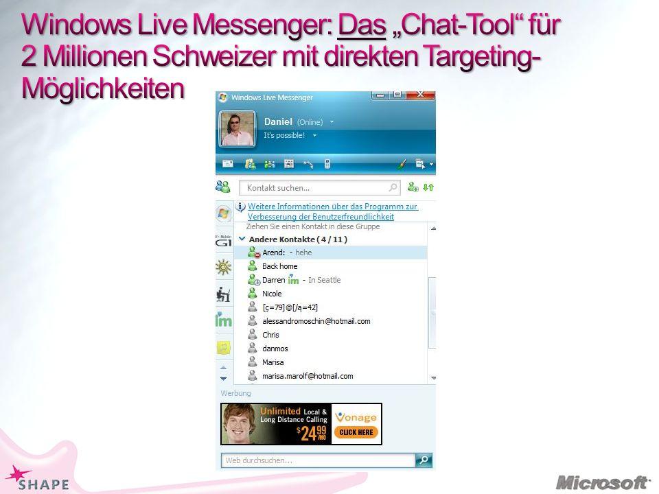 """Windows Live Messenger: Das """"Chat-Tool für 2 Millionen Schweizer mit direkten Targeting-Möglichkeiten"""