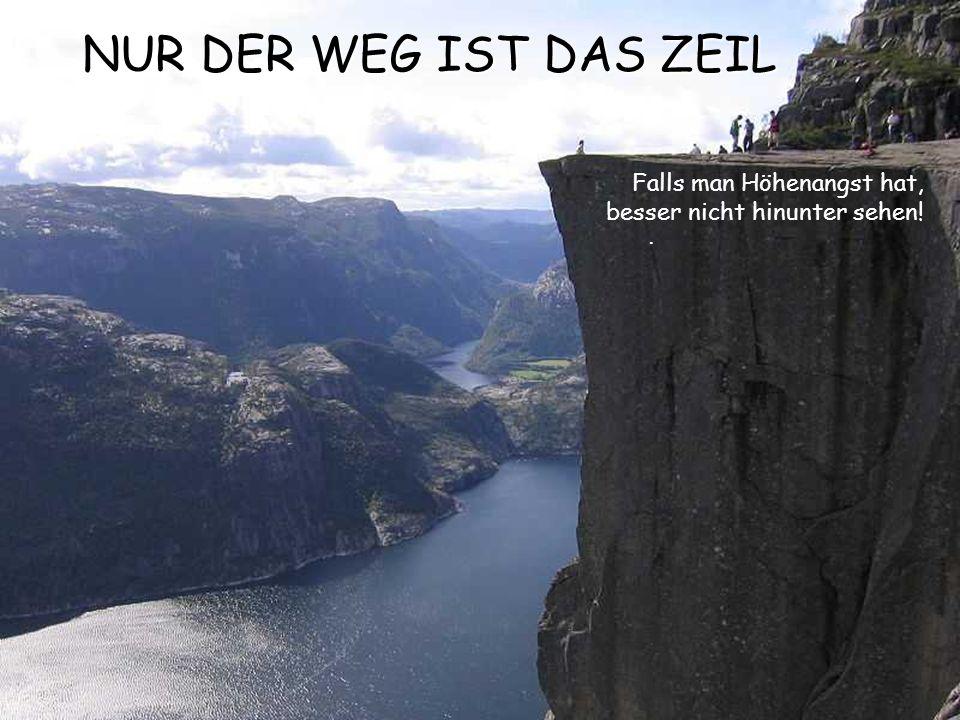 NUR DER WEG IST DAS ZEIL Falls man Höhenangst hat, besser nicht hinunter sehen! .