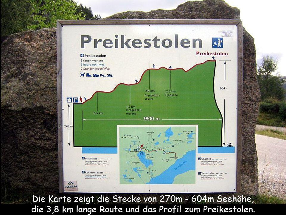 Die Karte zeigt die Stecke von 270m - 604m Seehöhe,