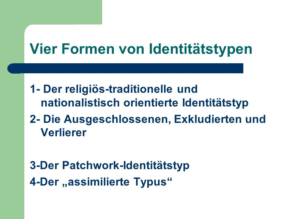 Vier Formen von Identitätstypen
