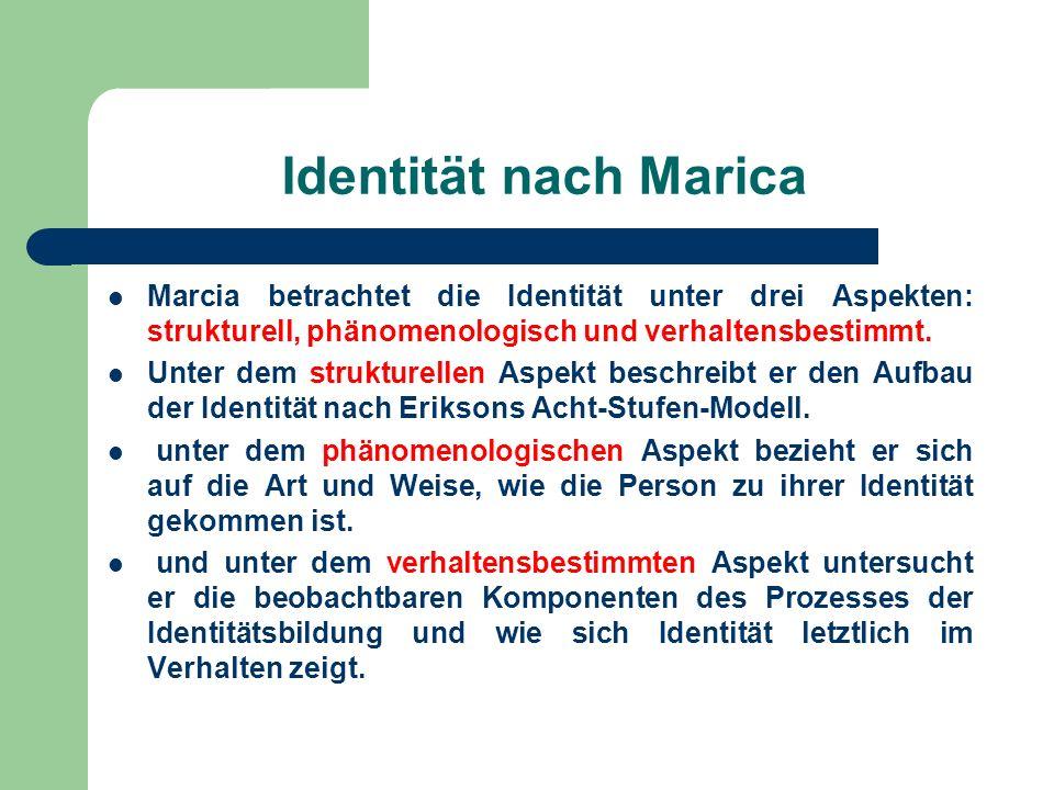 Identität nach Marica Marcia betrachtet die Identität unter drei Aspekten: strukturell, phänomenologisch und verhaltensbestimmt.