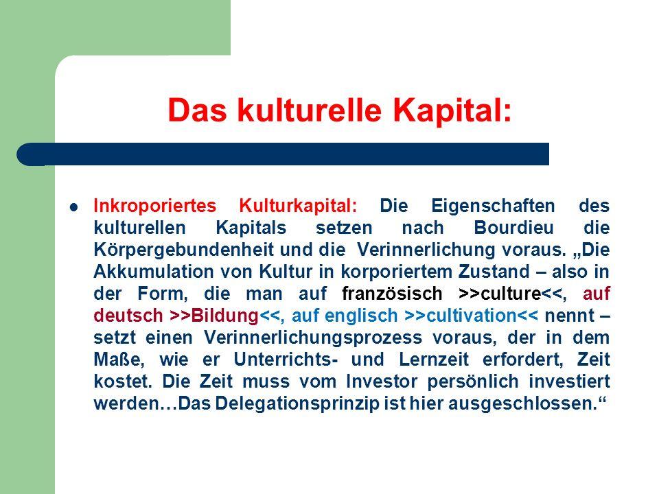 Das kulturelle Kapital: