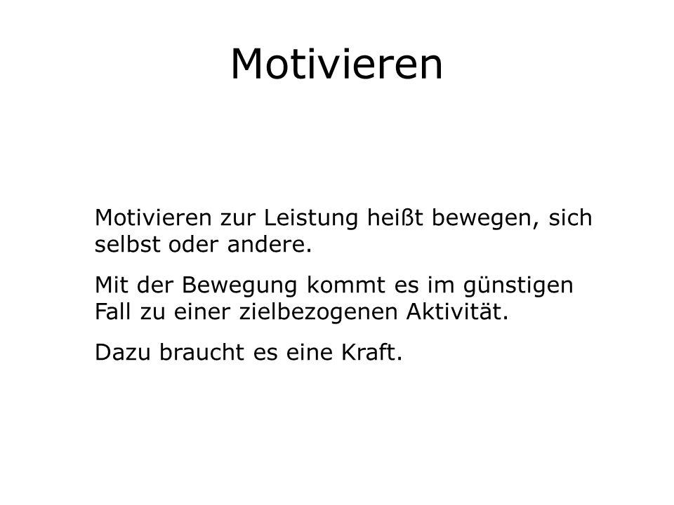 Motivieren Motivieren zur Leistung heißt bewegen, sich selbst oder andere.