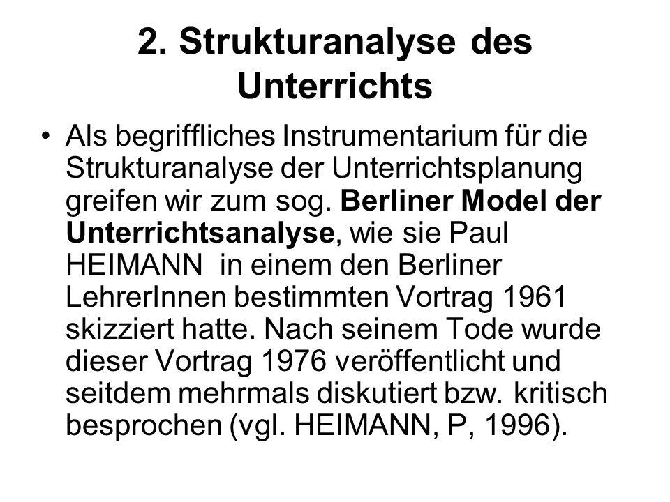 2. Strukturanalyse des Unterrichts