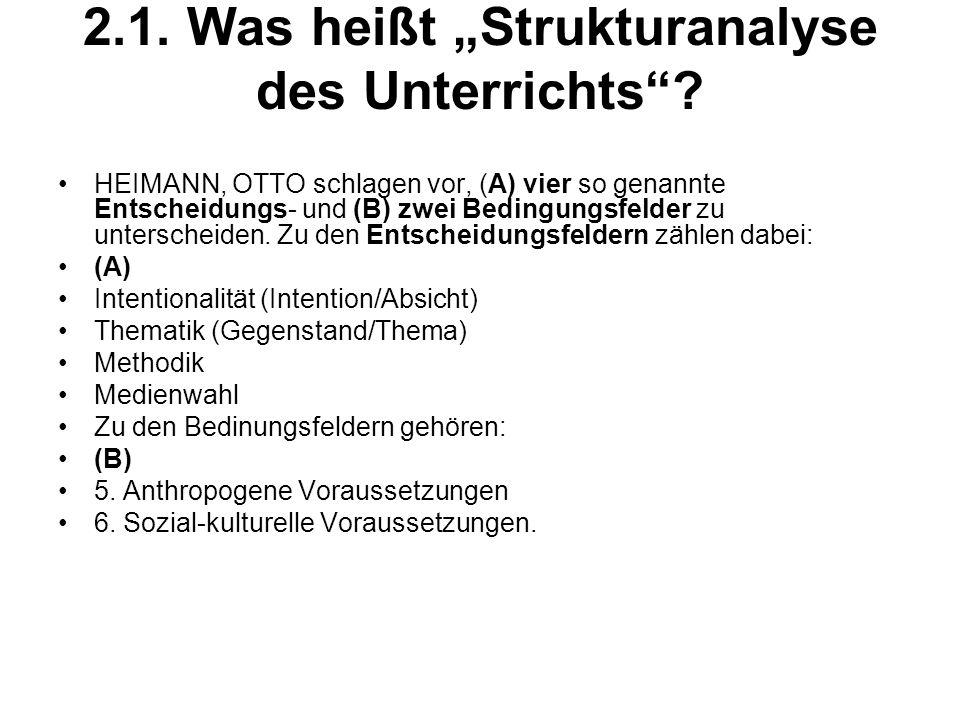 """2.1. Was heißt """"Strukturanalyse des Unterrichts"""