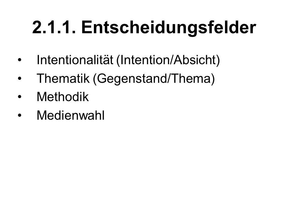 2.1.1. Entscheidungsfelder Intentionalität (Intention/Absicht)