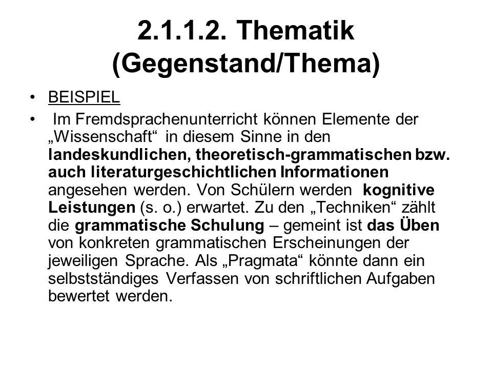 2.1.1.2. Thematik (Gegenstand/Thema)