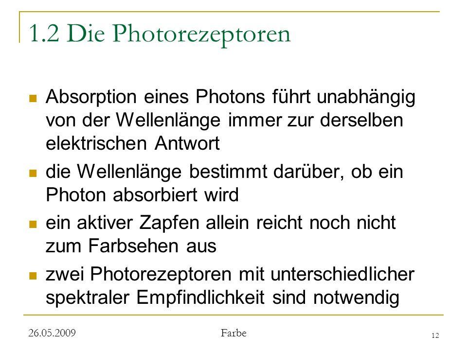 1.2 Die Photorezeptoren Absorption eines Photons führt unabhängig von der Wellenlänge immer zur derselben elektrischen Antwort.