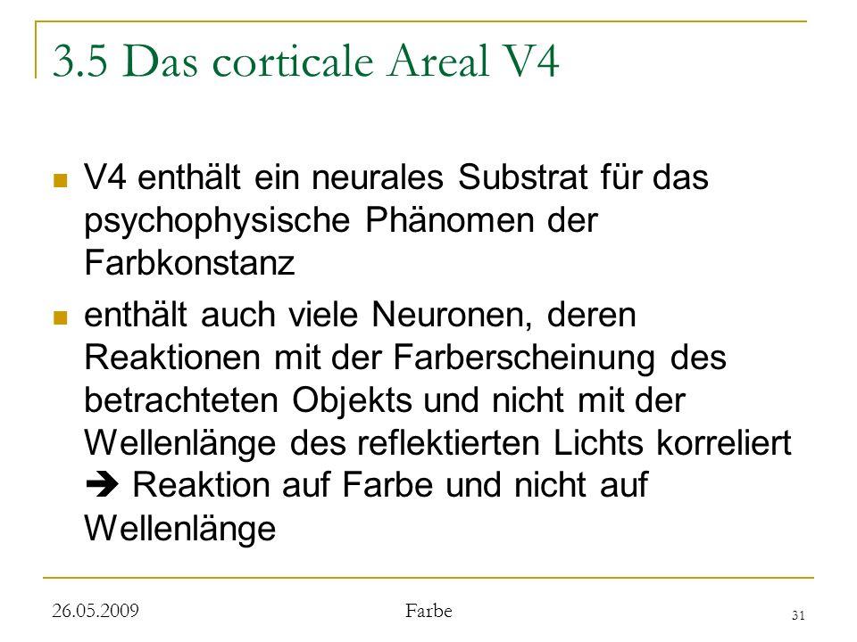 3.5 Das corticale Areal V4 V4 enthält ein neurales Substrat für das psychophysische Phänomen der Farbkonstanz.