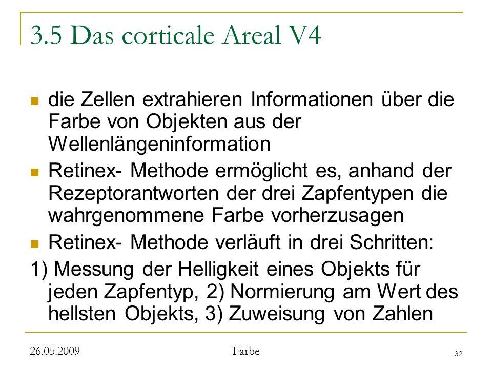 3.5 Das corticale Areal V4 die Zellen extrahieren Informationen über die Farbe von Objekten aus der Wellenlängeninformation.
