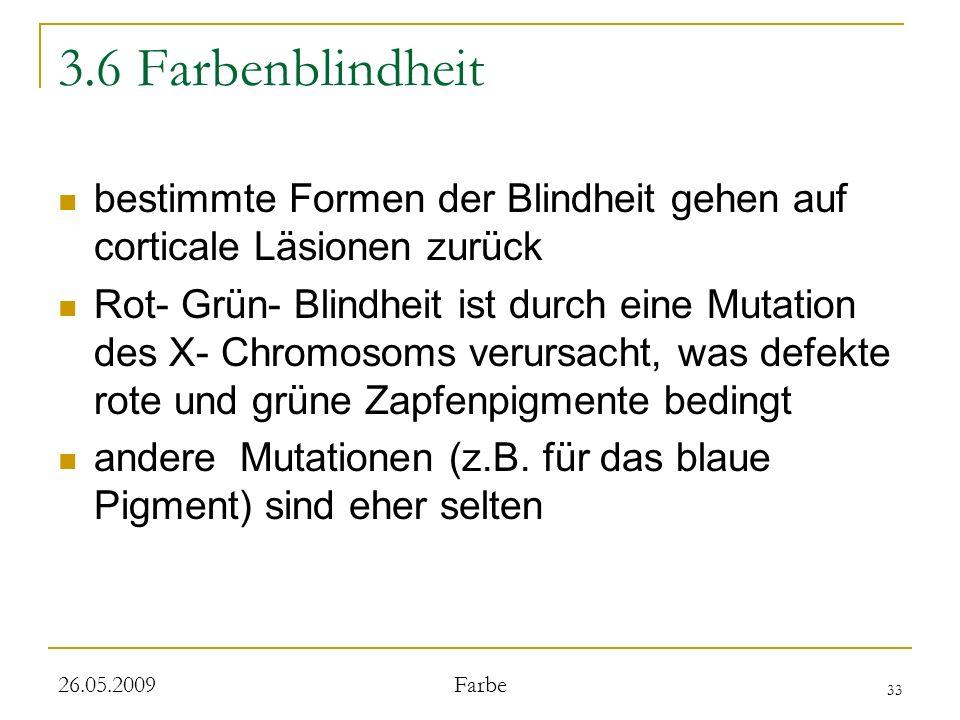 3.6 Farbenblindheit bestimmte Formen der Blindheit gehen auf corticale Läsionen zurück.