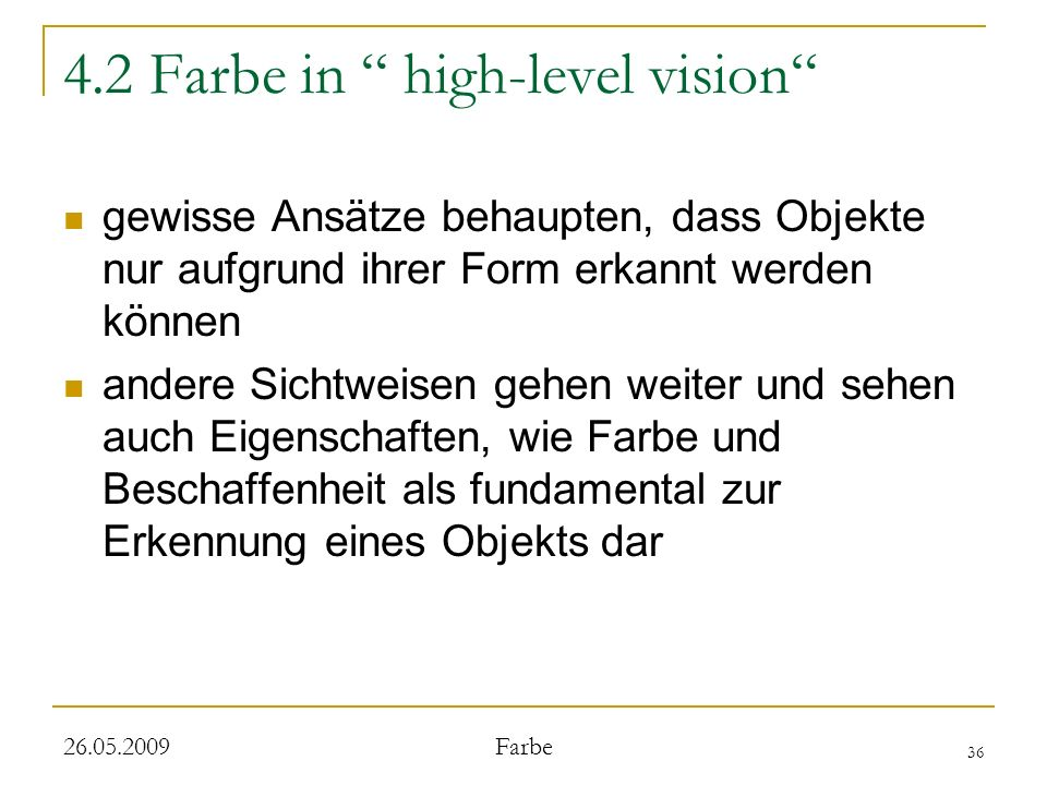 4.2 Farbe in high-level vision