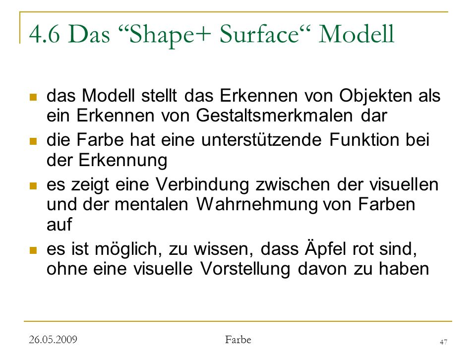 4.6 Das ''Shape+ Surface Modell