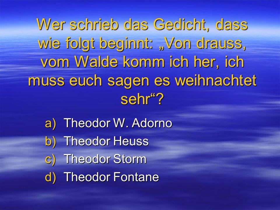 Theodor W. Adorno Theodor Heuss Theodor Storm Theodor Fontane